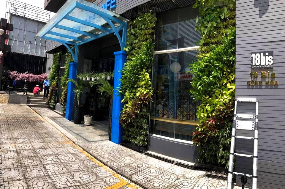 """Ý tưởng """"Cafe tươi xanh"""" với thiết kế vườn tường cây xanh"""